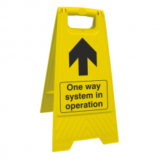 Social Distancing - One Way System In Operation Floor Stand