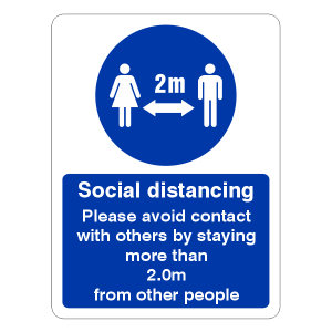 Social Distancing - Please Avoid Contact With Others Sign