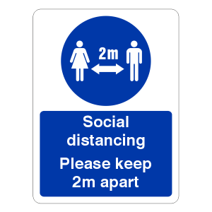 Social Distancing - Please Keep 2m Apart Sign