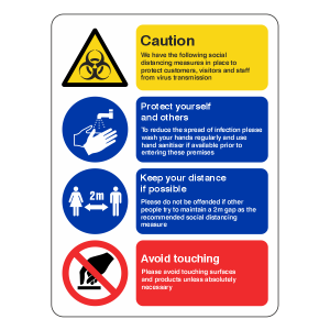 Social Distancing Measures Sign – Health and Safety Hygiene Virus Risk Sign