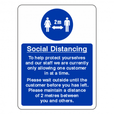 Social Distancing - Only One Customer At A Time Sign