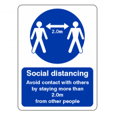 Social Distancing - Stay More Than 2m From Other People Sign