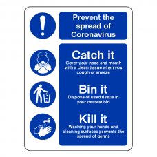 Prevent Coronavairus - Catch It Bin It Kill It Sign