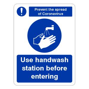 Prevent Coronavairus - Use Handwash Station Before Entering Sign