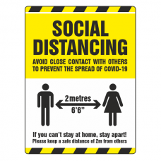Social Distancing - Avoid Close Contact With Others Sign