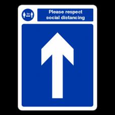 Respect Social Distancing - Arrow Up Sign