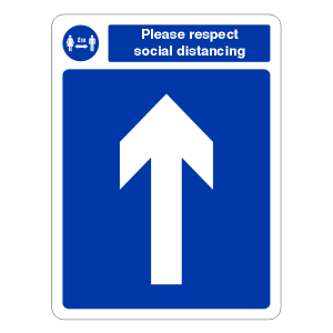 Respect Social Distancing - Arrow Up Sign