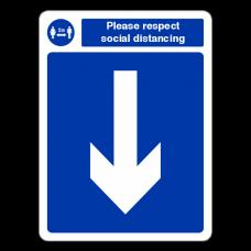 Respect Social Distancing - Arrow Down Sign