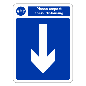 Respect Social Distancing - Arrow Down Sign