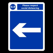 Respect Social Distancing - Arrow Left Sign