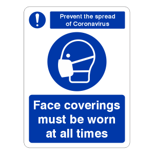 Prevent The Spread of Coronavirus - Face Masks Must Be Worn At All Times Sign