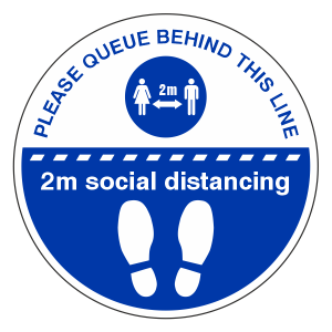 Please Queue Behind This Line Temporary Floor Sticker
