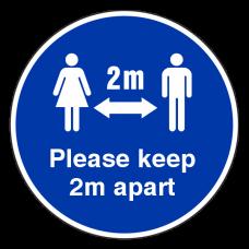 Please Keep 2m Apart Temporary Floor Sticker