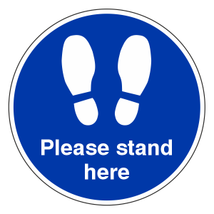 Please Stand Here Temporary Floor Sticker