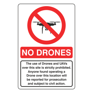 No Drones - Use of Drones and UAVs Prohibited Sign