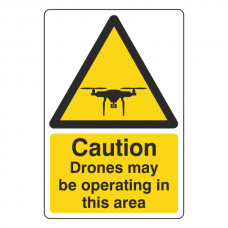 Caution Drones May Be Operating In This Area Sign