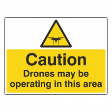 Caution Drones May Be Operating In This Area Sign (Large Landscape)