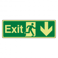 Photoluminescent Exit Arrow Down Sign