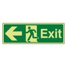 Photoluminescent Exit Arrow Left Sign