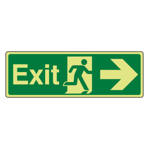 Photoluminescent Exit Arrow Right Sign