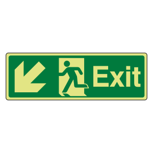 Photoluminescent Exit Arrow Down Left Sign