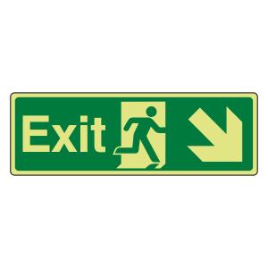 Photoluminescent Exit Arrow Down Right Sign