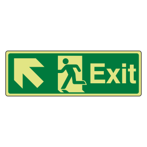 Photoluminescent Exit Arrow Up Left Sign