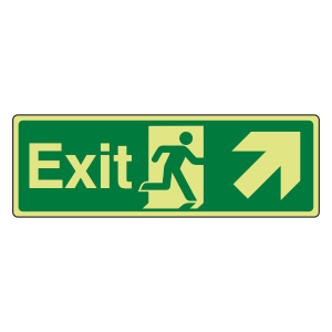 Photoluminescent Exit Arrow Up Right Sign