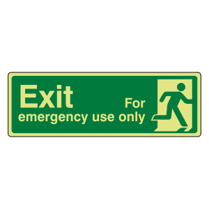 Photoluminescent Exit For Emergency Use Only Sign (man right)