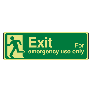 Photoluminescent Exit For Emergency Use Only Sign (man left)