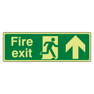 Photoluminescent Fire Exit Arrow Up Sign