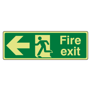 Photoluminescent Fire Exit Arrow Left Sign