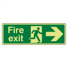 Photoluminescent Fire Exit Arrow Right Sign