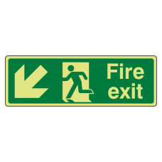 Photoluminescent Fire Exit Arrow Down Left Sign