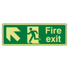 Photoluminescent Fire Exit Arrow Up Left Sign