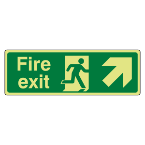 Photoluminescent Fire Exit Arrow Up Right Sign
