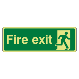 Photoluminescent Final Fire Exit Man Right Sign