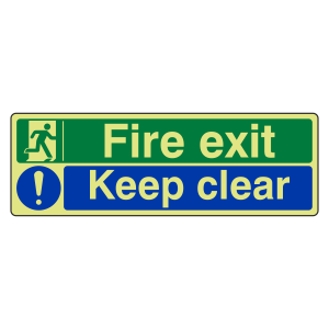 Photoluminescent Fire Exit / Keep Clear Sign