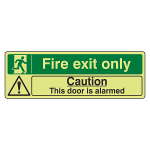 Photoluminescent Fire Exit Only / Door Alarmed Sign