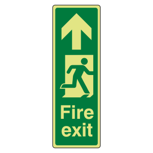 Photoluminescent Portrait Fire Exit Arrow Up Sign