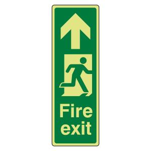 Photoluminescent Portrait Fire Exit Arrow Up Sign