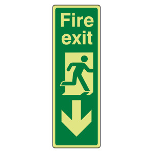 Photoluminescent Portrait Fire Exit Arrow Down Sign