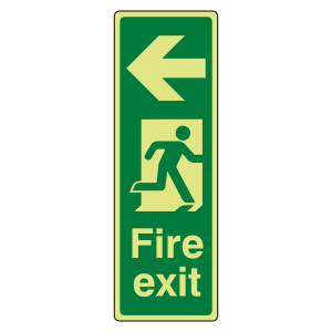 Photoluminescent Portrait Fire Exit Arrow Left Sign
