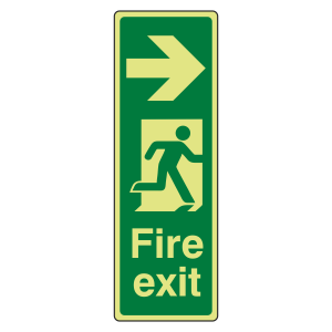 Photoluminescent Portrait Fire Exit Arrow Right Sign