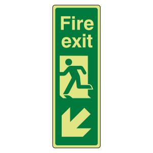 Photoluminescent Portrait Fire Exit Arrow Down Left Sign