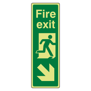 Photoluminescent Portrait Fire Exit Arrow Down Right Sign