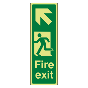 Photoluminescent Portrait Fire Exit Arrow Up Left Sign
