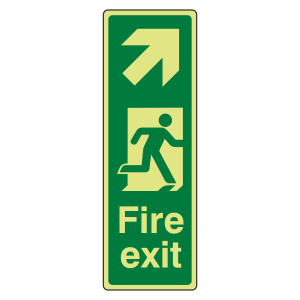 Photoluminescent Portrait Fire Exit Arrow Up Right Sign