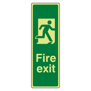 Photoluminescent Portrait Final Fire Exit Man Right Sign