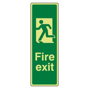 Photoluminescent Portrait Final Fire Exit Man Left Sign